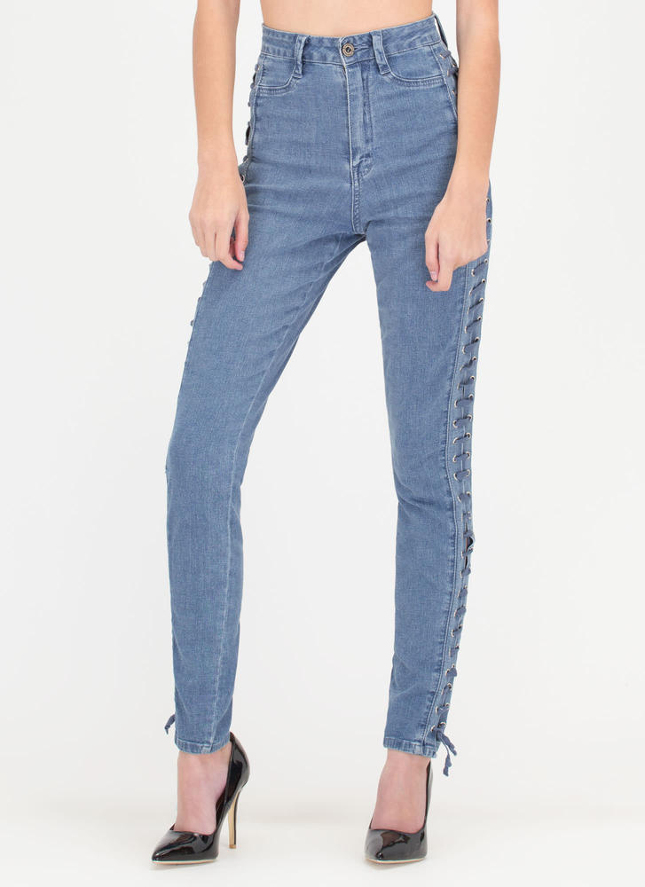 Take A Side Lace-Up Skinny Jeans BLUE