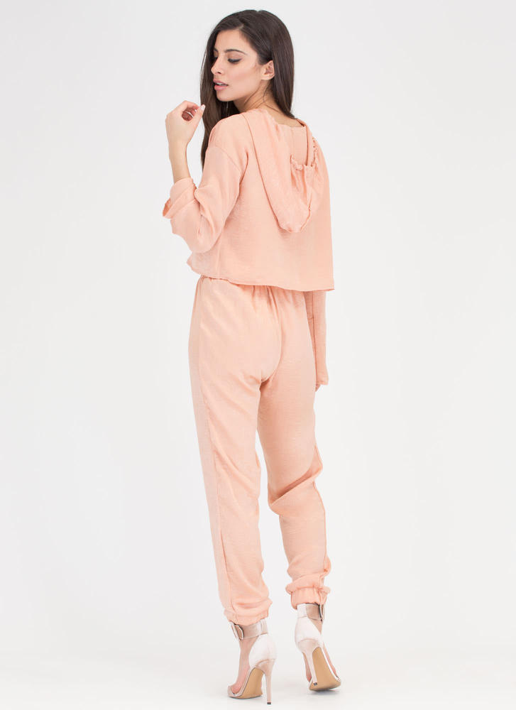 The Silky Way Hoodie And Jogger Set PEACH (Final Sale)