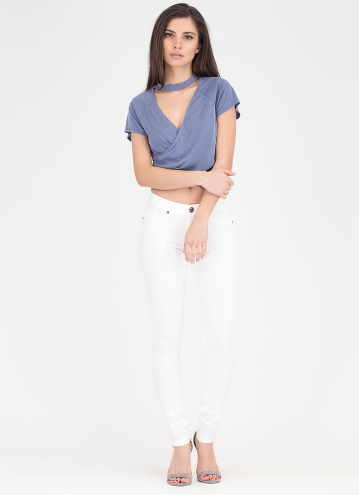 Crossing Over Ribbed Cut-Out Choker Top NAVY
