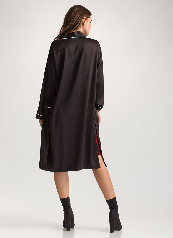 Robe In Wardrobe Satiny Piped Duster BLACK