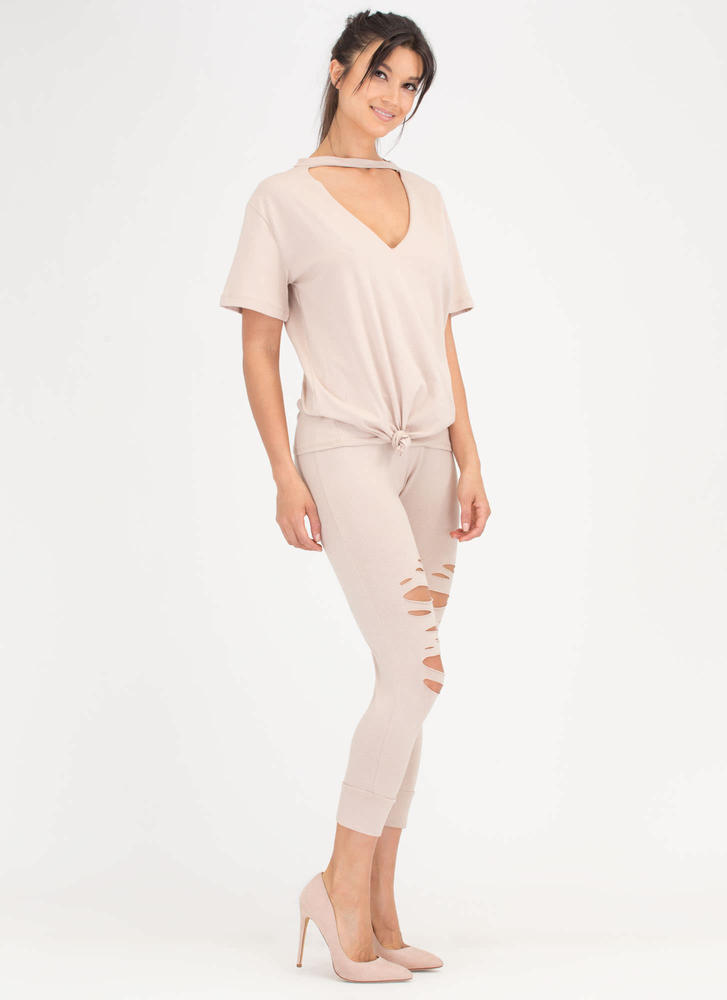 Knot A Chance Distressed Cut-Out Set BEIGE