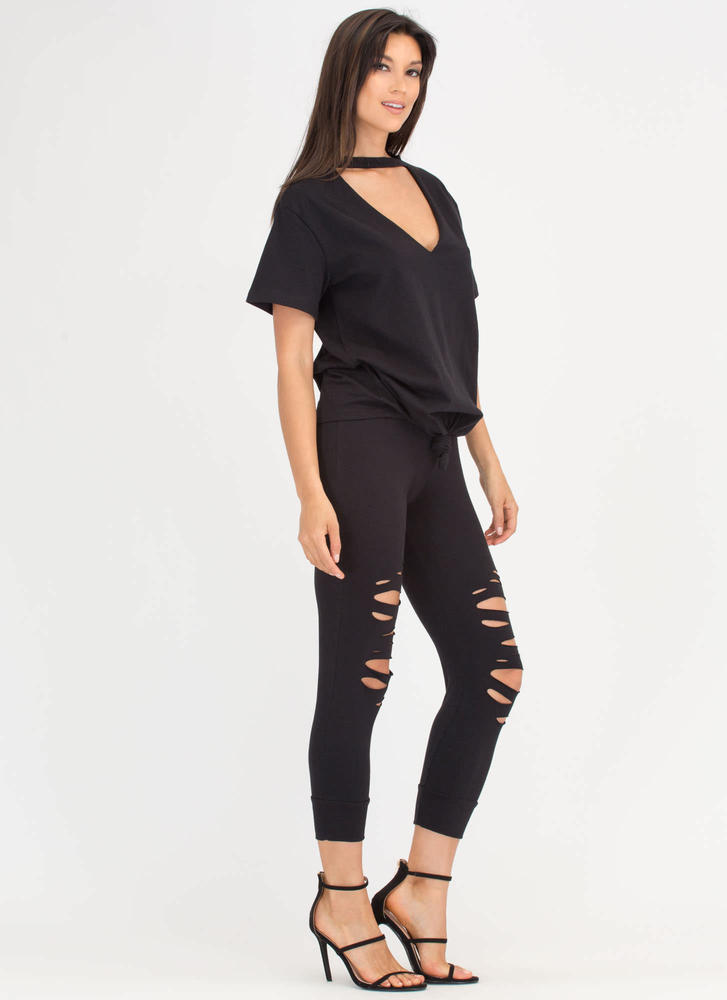 Knot A Chance Distressed Cut-Out Set BLACK