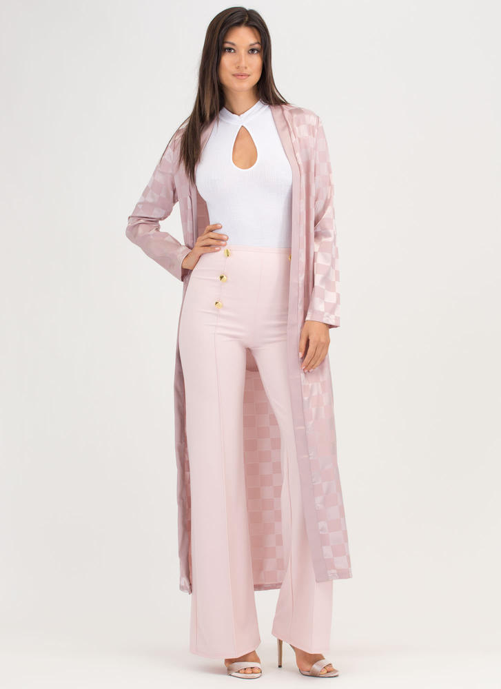 Check Yourself Tied Satin Duster Jacket