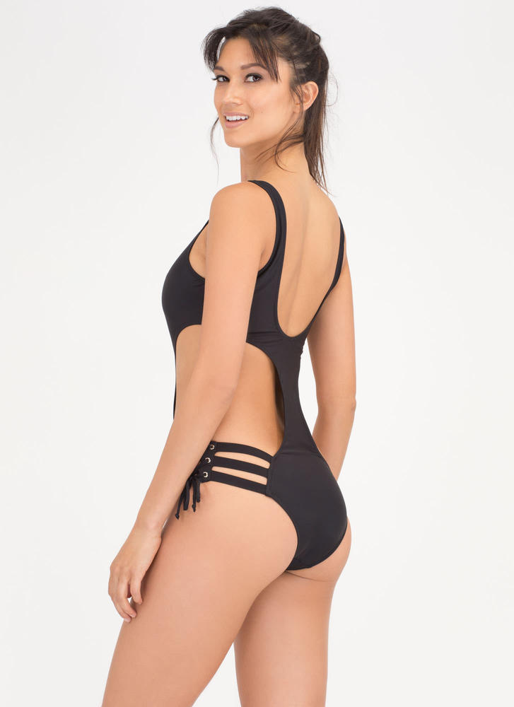 Beach Babe Cut-Out Lace-Up Swimsuit BLACK (Final Sale)