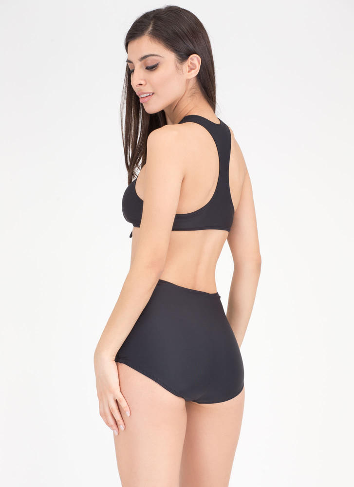 High Tied Racerback Bikini Set BLACK (Final Sale)