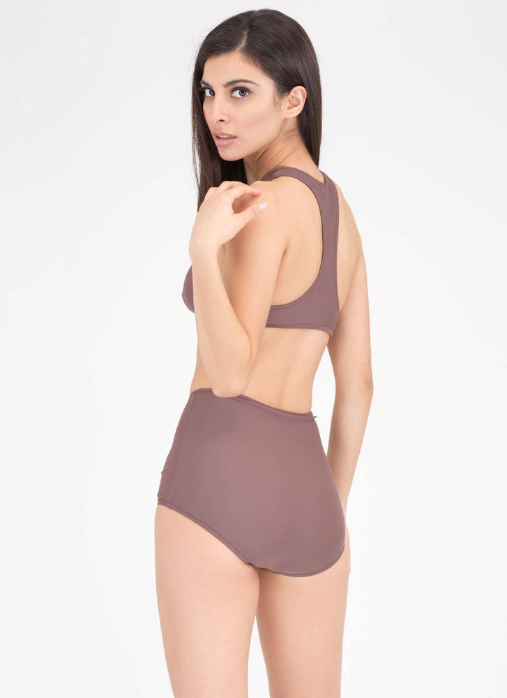 High Tied Racerback Bikini Set COFFEE (Final Sale)