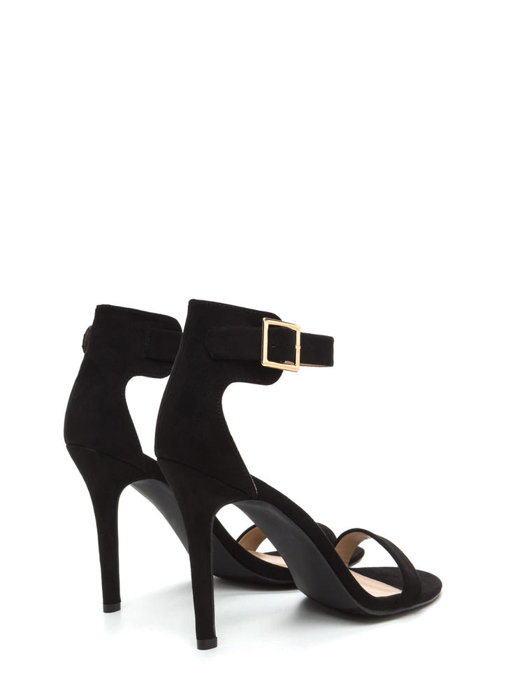 It's Simple Really Ankle Strap Heels BLACK