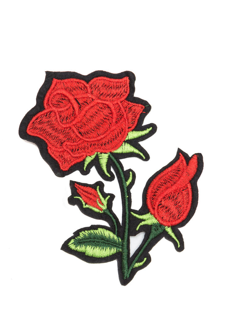 Rose With Thorns Embroidered Patch RED