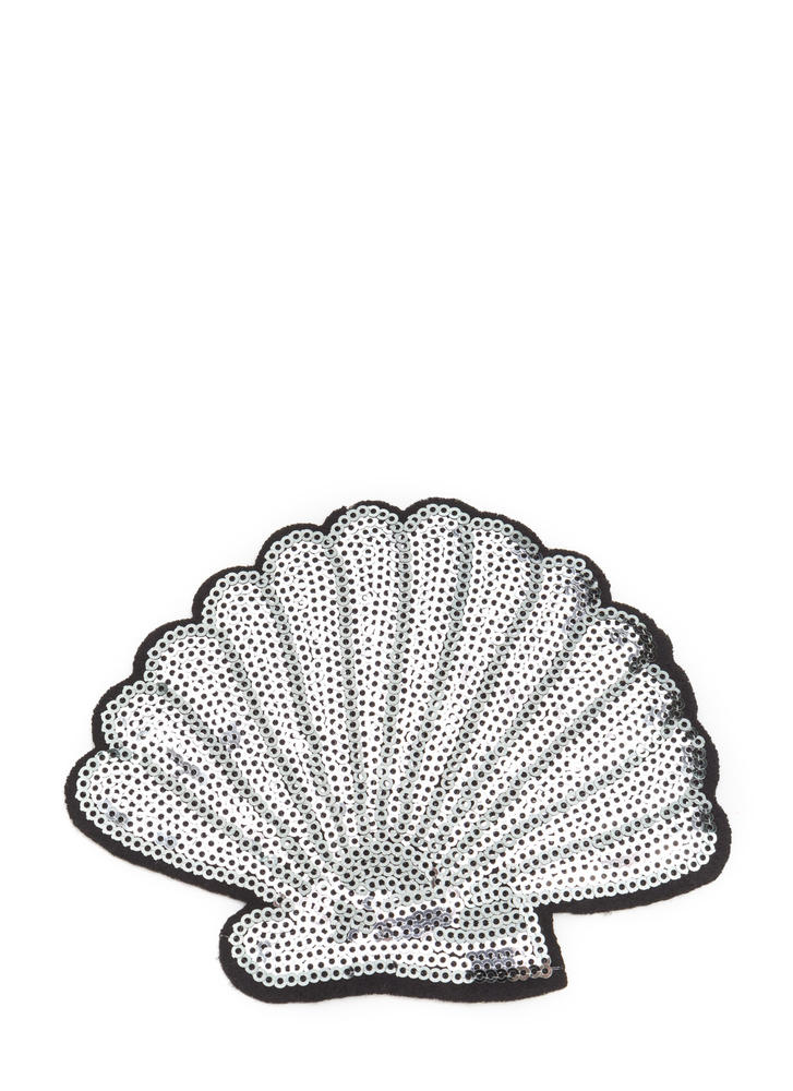 She Sells Seashells Sequined Patch SILVER