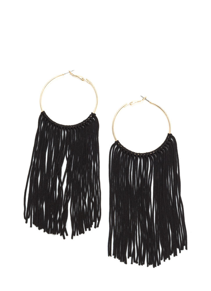 Boho Getaway Fringed Hoop Earrings BLACKGOLD