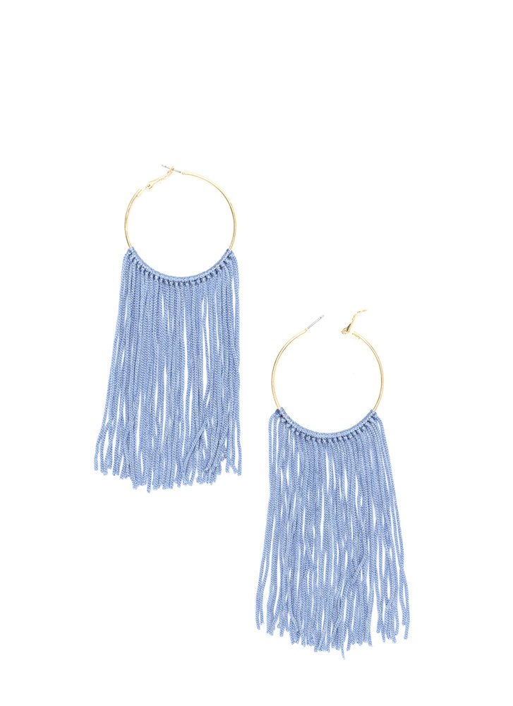 Boho Getaway Fringed Hoop Earrings BLUEGOLD