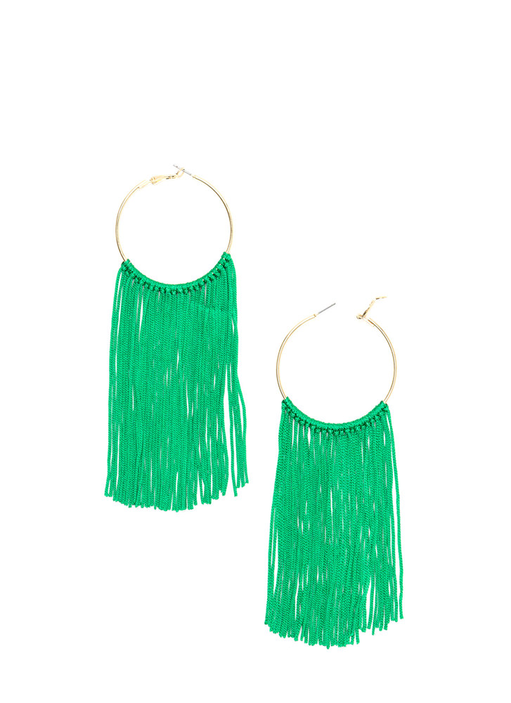 Boho Getaway Fringed Hoop Earrings GREENGOLD