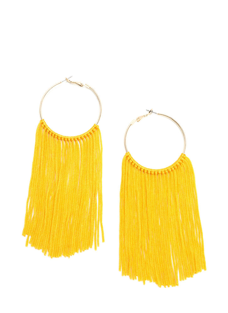 Boho Getaway Fringed Hoop Earrings