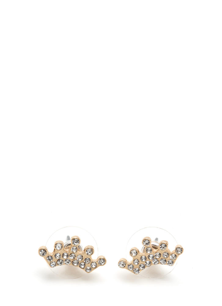Crown Jewels Rhinestone Earrings GOLD