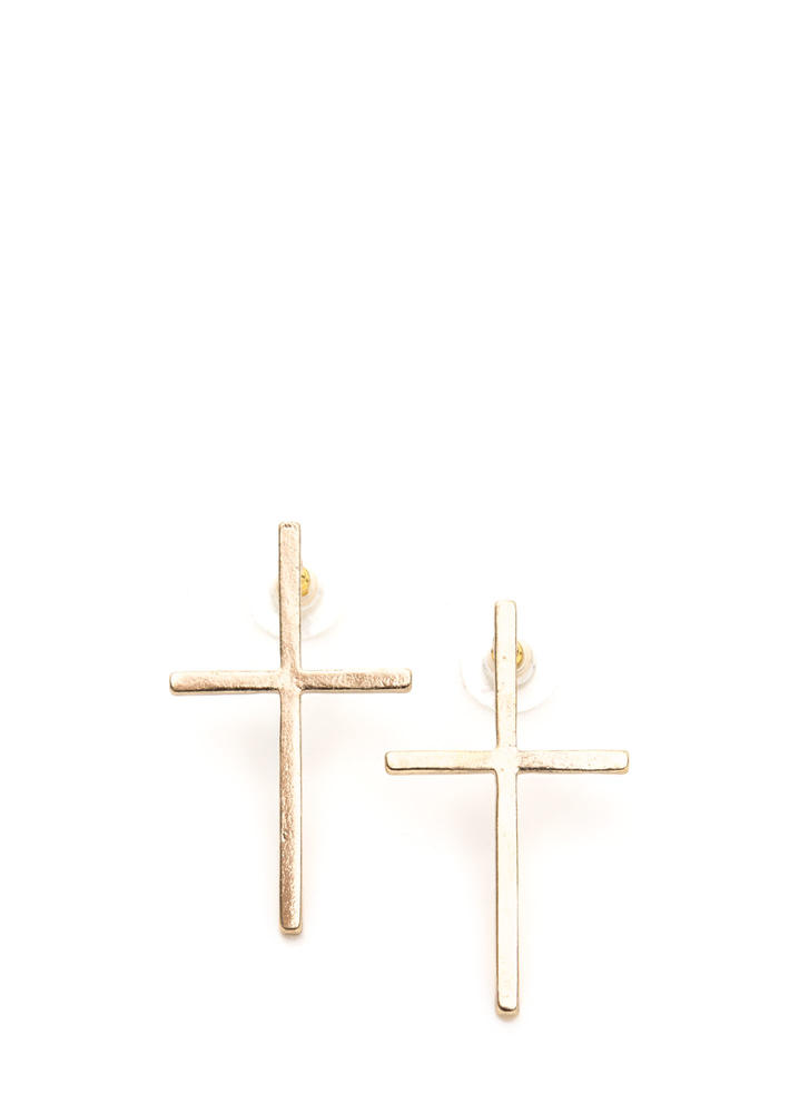 Plus Two Cross Charm Earrings