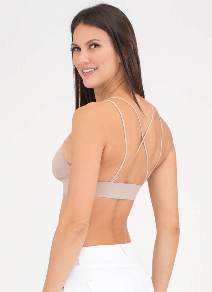 Back That Up Strappy Nylon Bralette NUDE