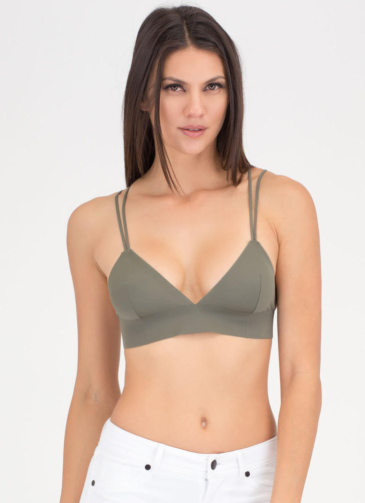 Back That Up Strappy Nylon Bralette OLIVE