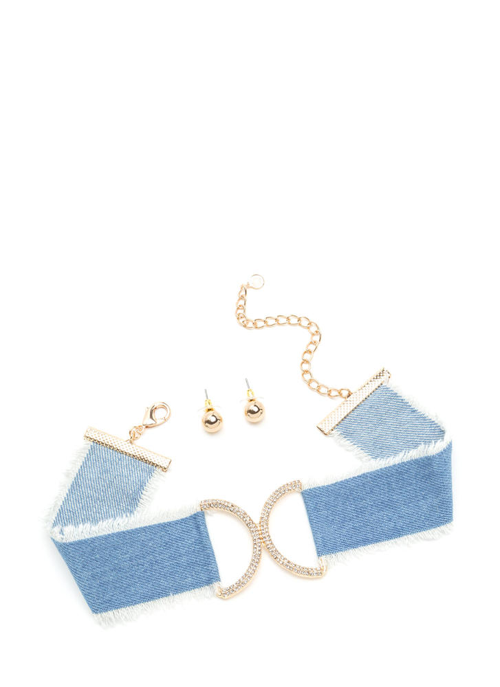 Jean Vogue Sparkly Denim Choker Set LTBLUE