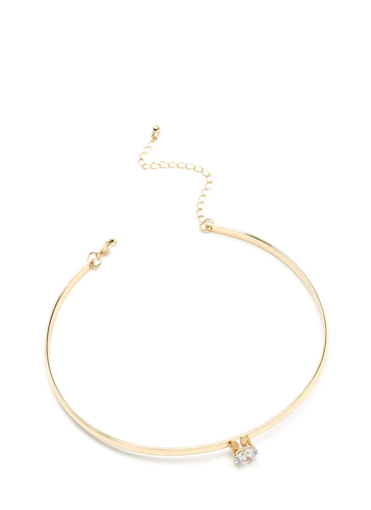 Chic And Simple Faux Jewel Choker GOLD