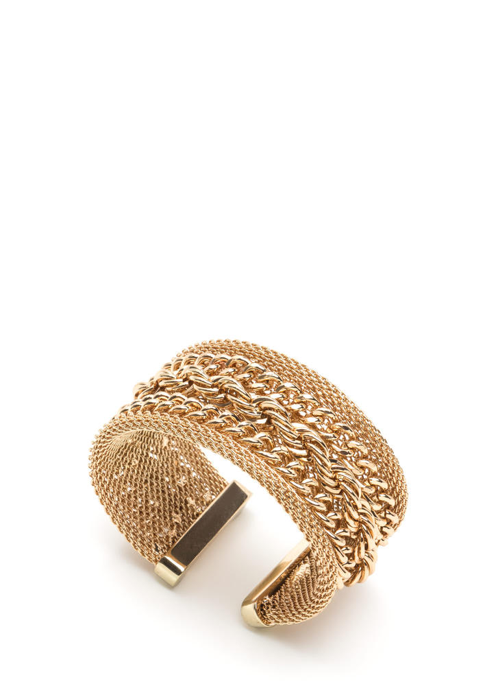 All Kinds Of Chains Layered Cuff GOLD
