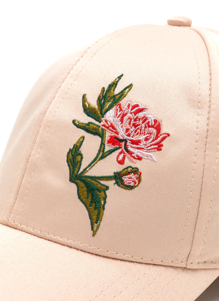Smell The Roses Satin Baseball Hat BEIGE