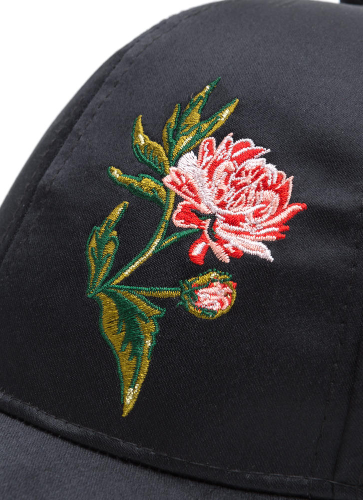 Smell The Roses Satin Baseball Hat BLACK
