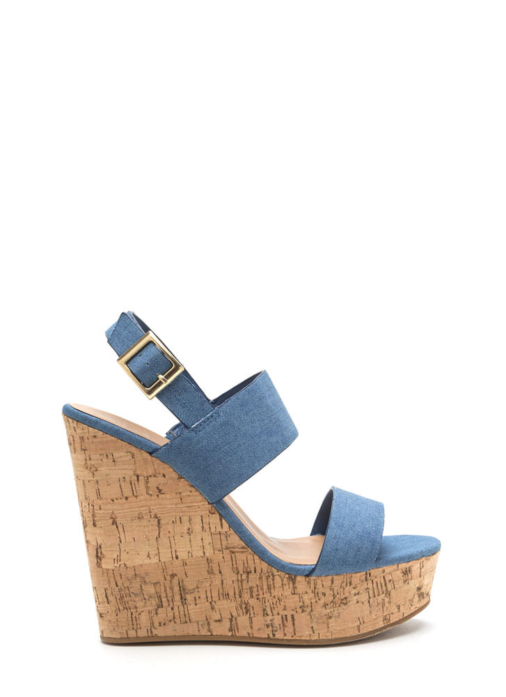 Cork In It Denim Platform Wedges