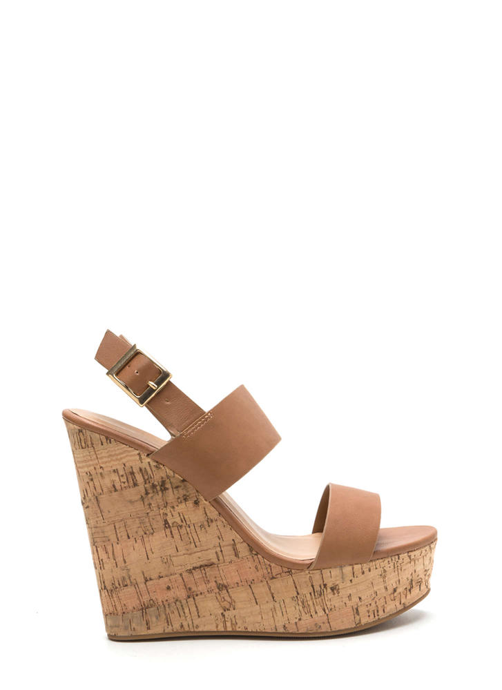 Cork In It Faux Leather Platform Wedges