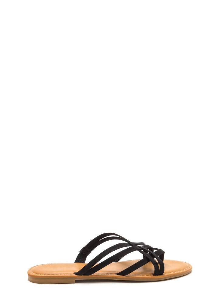 Caged Beauty Strappy Thong Sandals BLACK