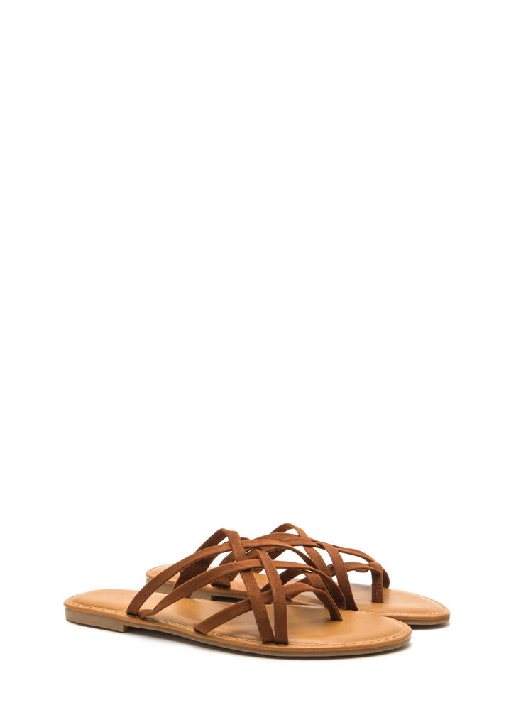 Caged Beauty Strappy Thong Sandals CHESTNUT