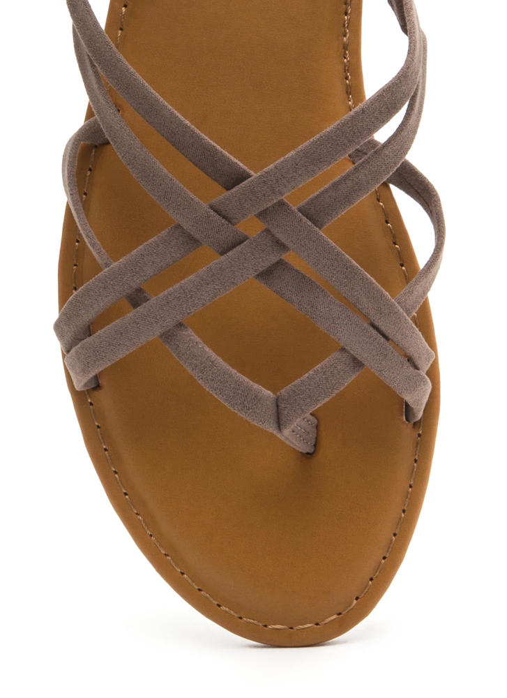 Caged Beauty Strappy Thong Sandals TAUPE