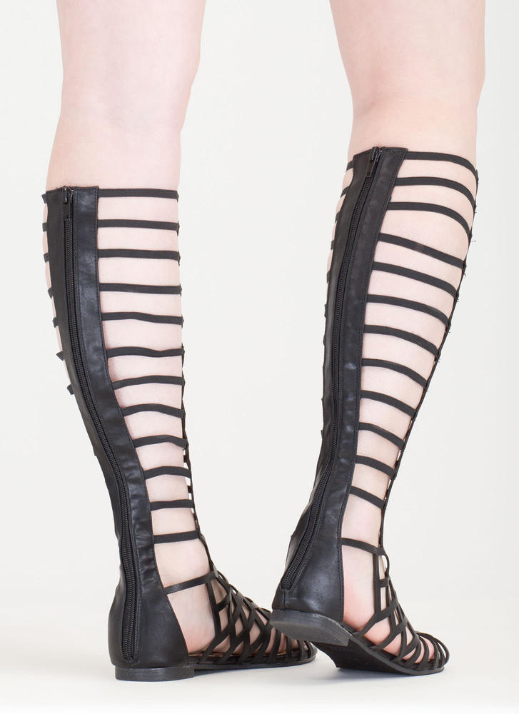 Cut You Off Caged Gladiator Sandals BLACK