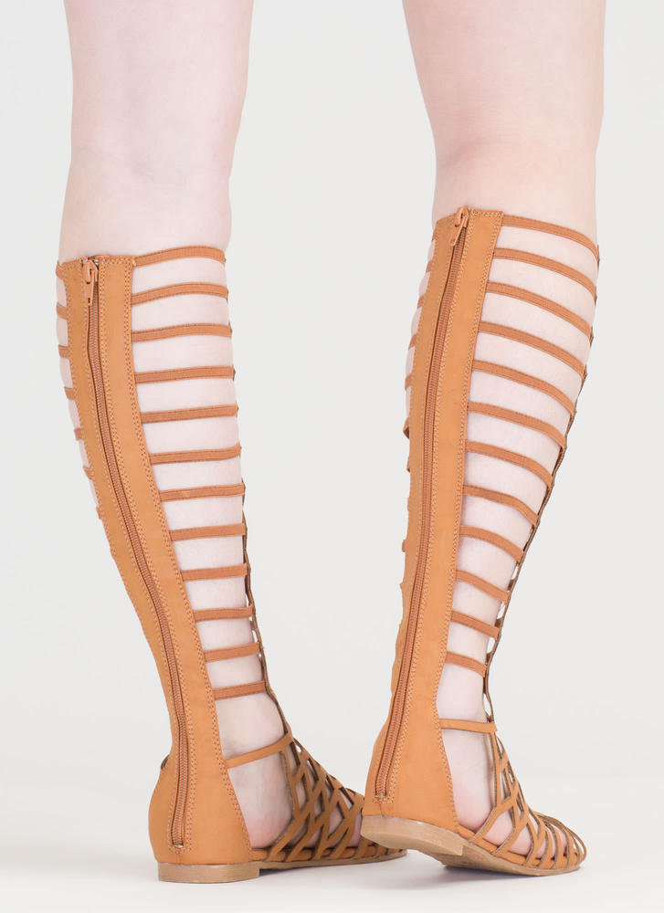 Cut You Off Caged Gladiator Sandals TAN