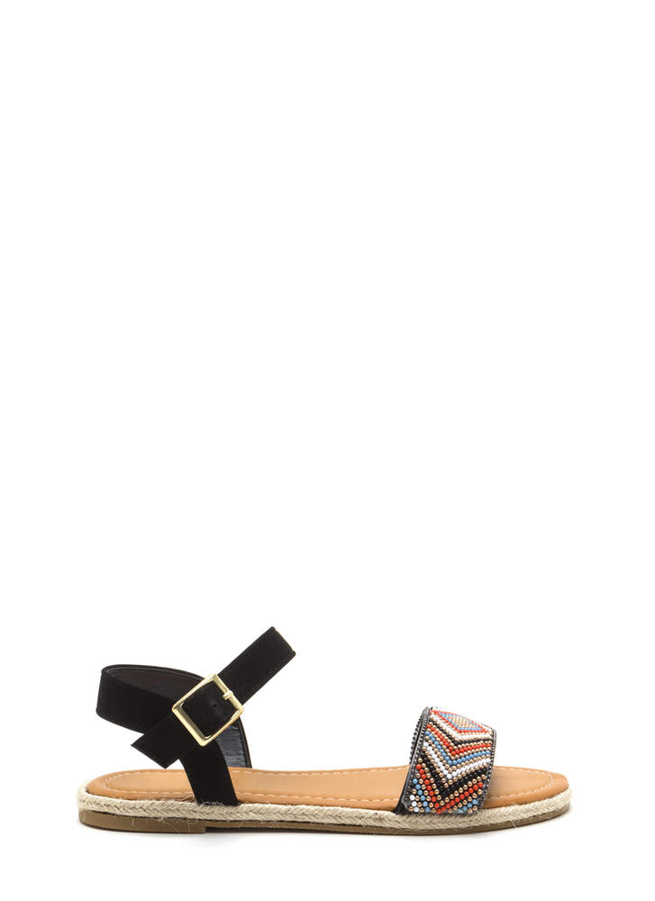 Take The Bead Espadrille Sandals BLACK