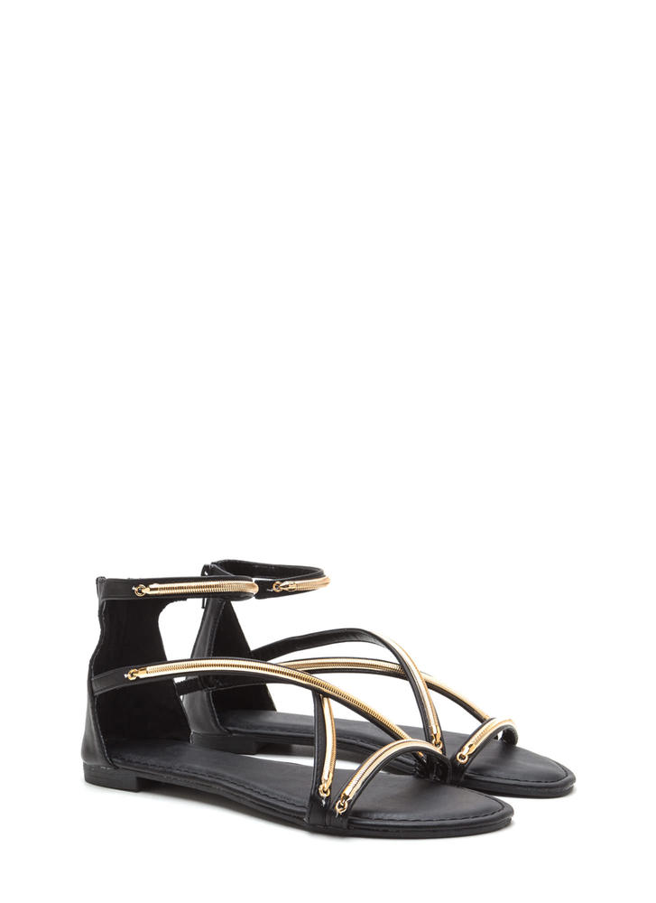 Modern Crossover Shiny Gladiator Sandals BLACK