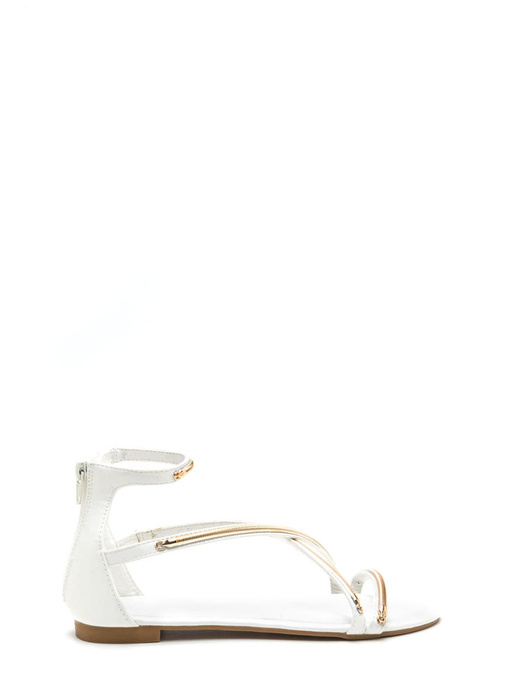 Modern Crossover Shiny Gladiator Sandals WHITE