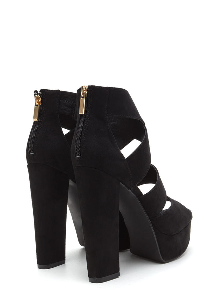 Tall Tale Caged Chunky Platform Heels BLACK