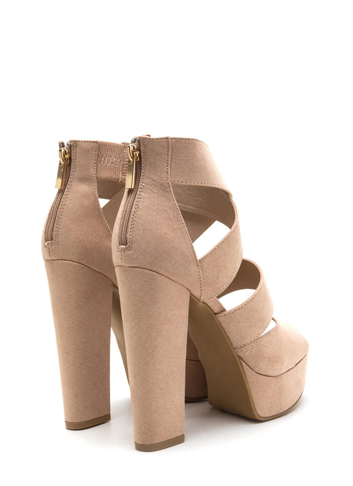 Tall Tale Caged Chunky Platform Heels NUDE