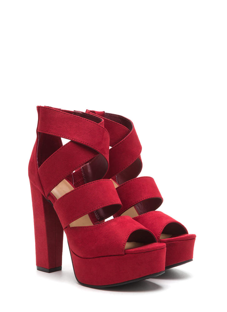 Tall Tale Caged Chunky Platform Heels RED