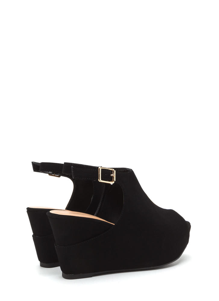 Chic Suggestion Cut-Out Platform Wedges BLACK