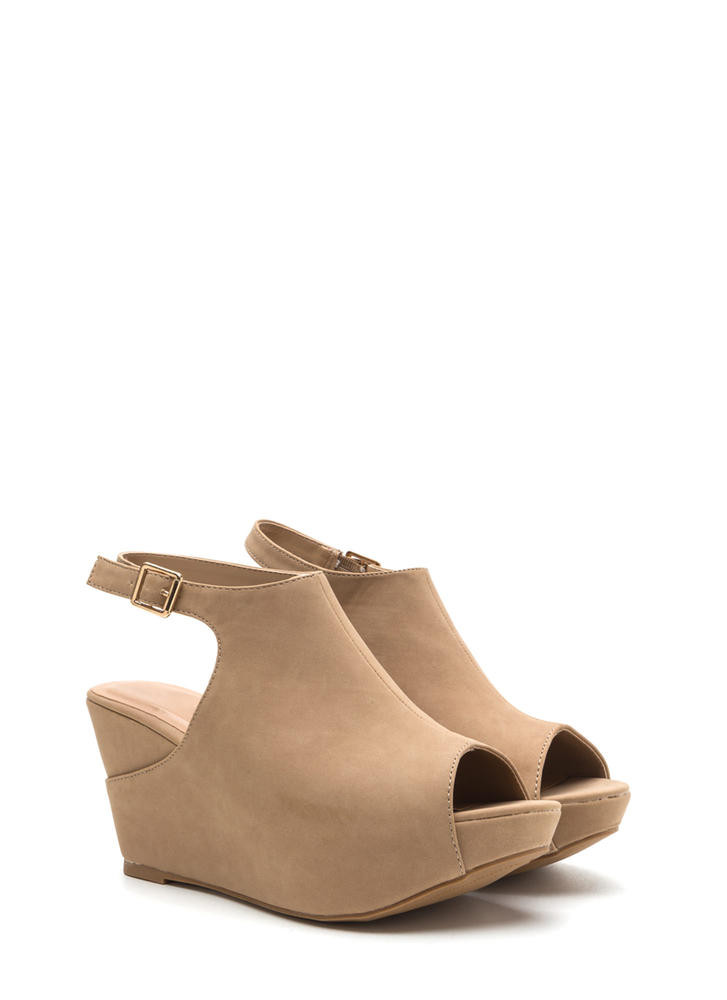 Chic Suggestion Cut-Out Platform Wedges NATURAL