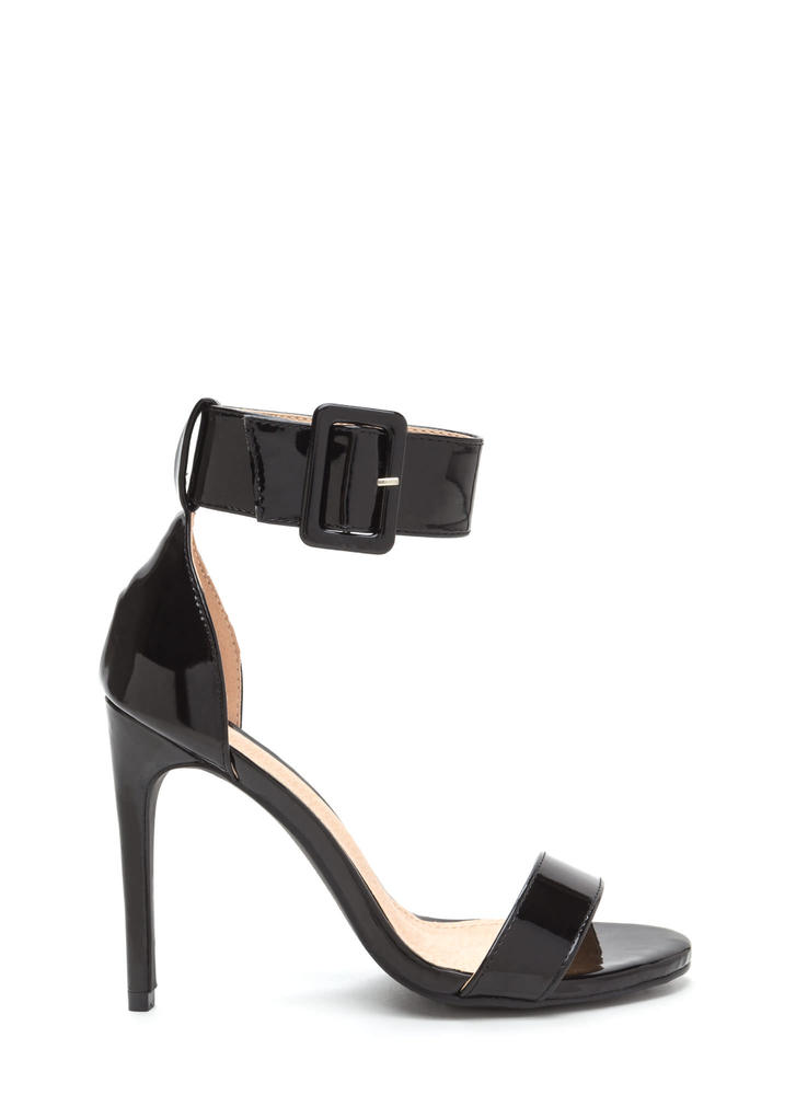 Buckle Up Strappy Faux Patent Heels BLACK