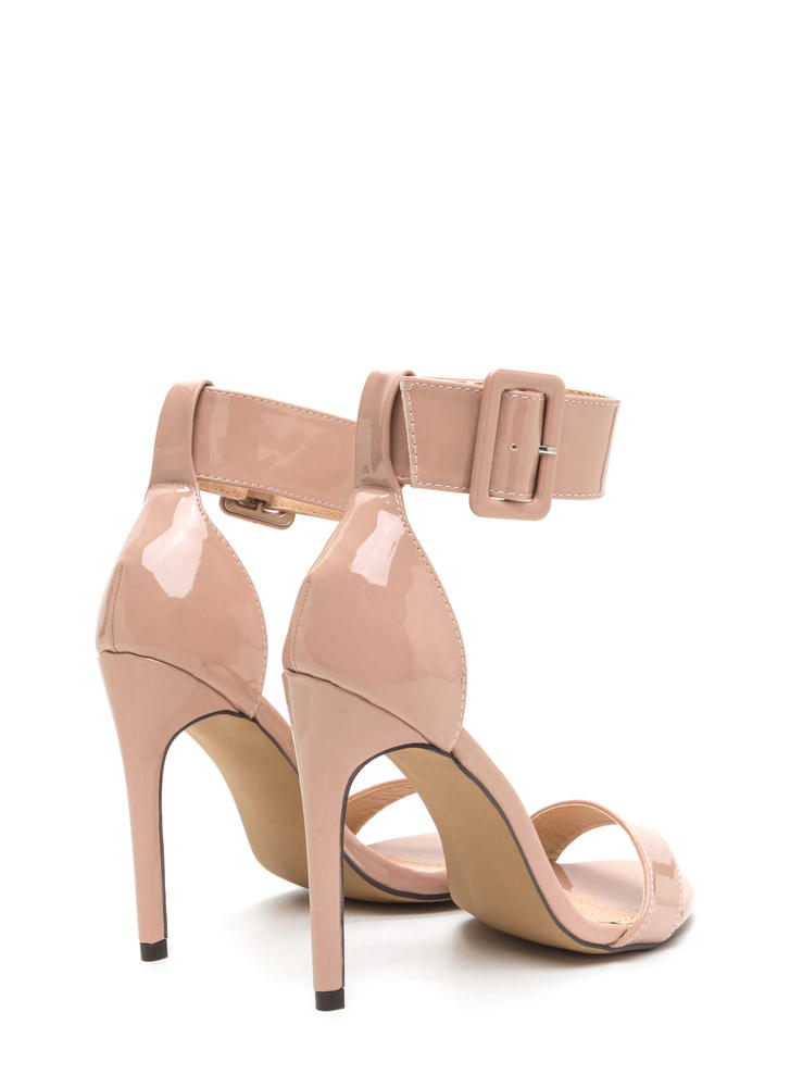 Buckle Up Strappy Faux Patent Heels NUDE
