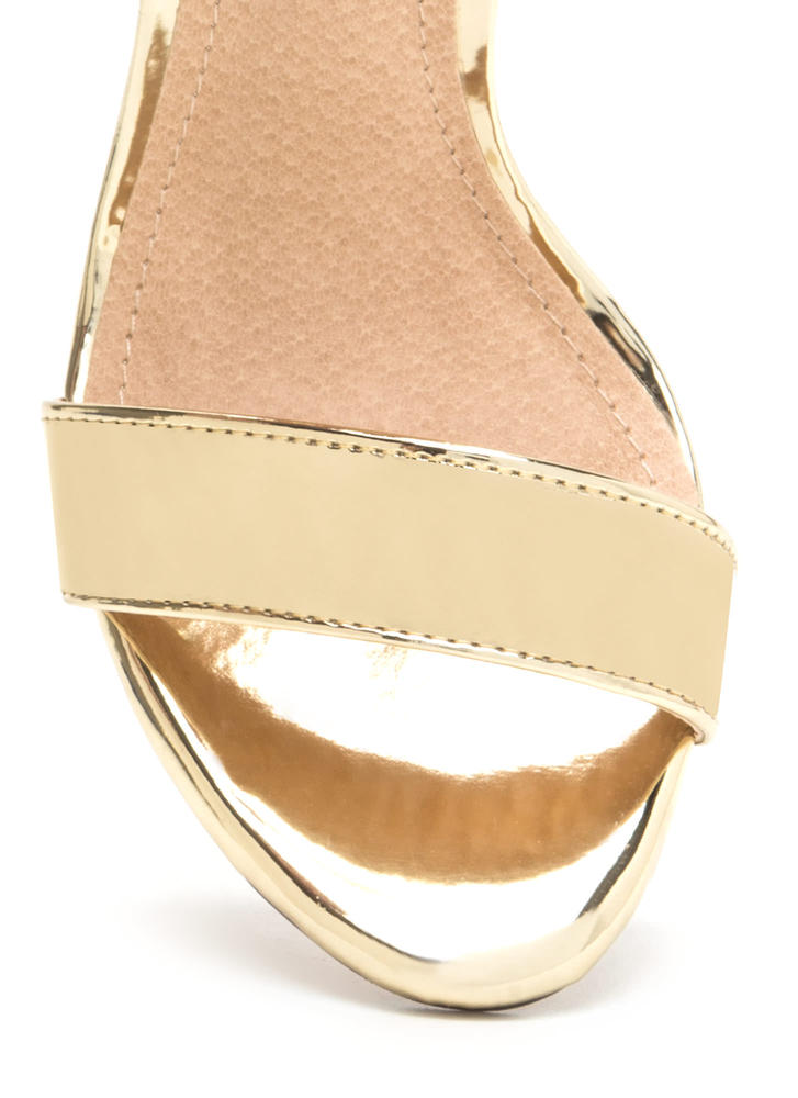 Buckle Up Strappy Metallic Heels GOLD
