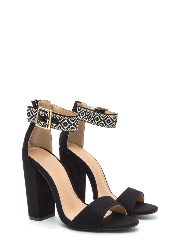 Southwest Style Chunky Woven Heels BLACK