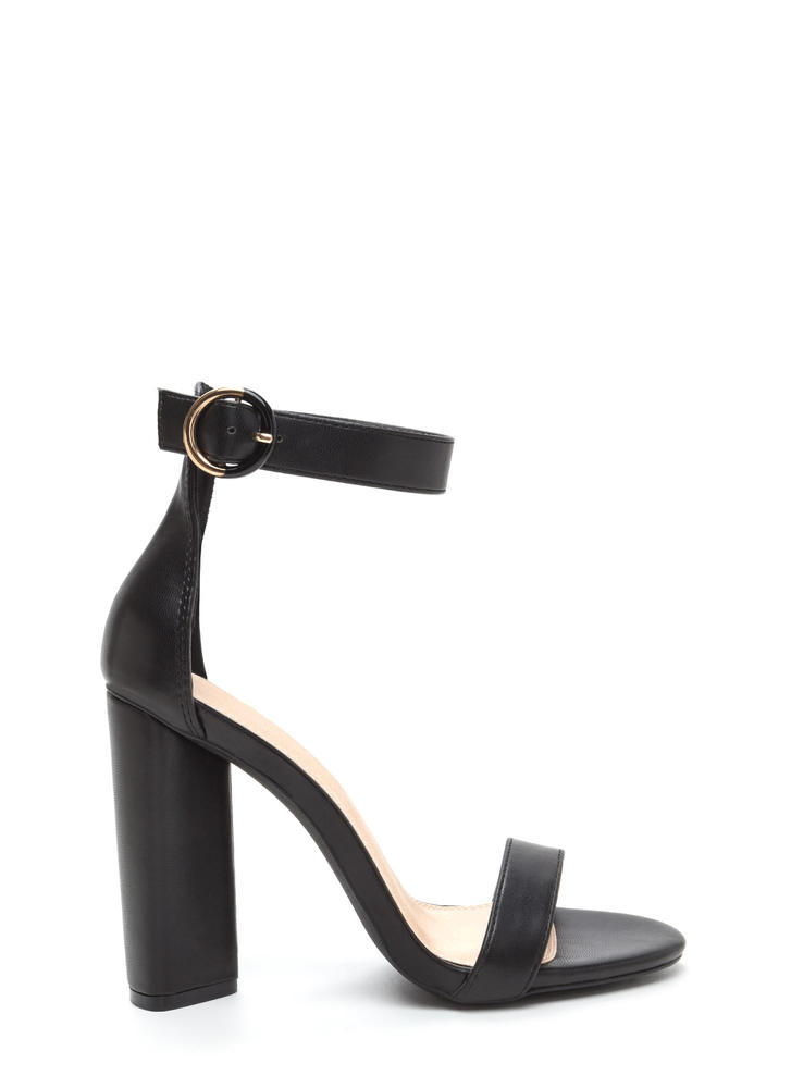 Full Circle Chunky Faux Leather Heels BLACK
