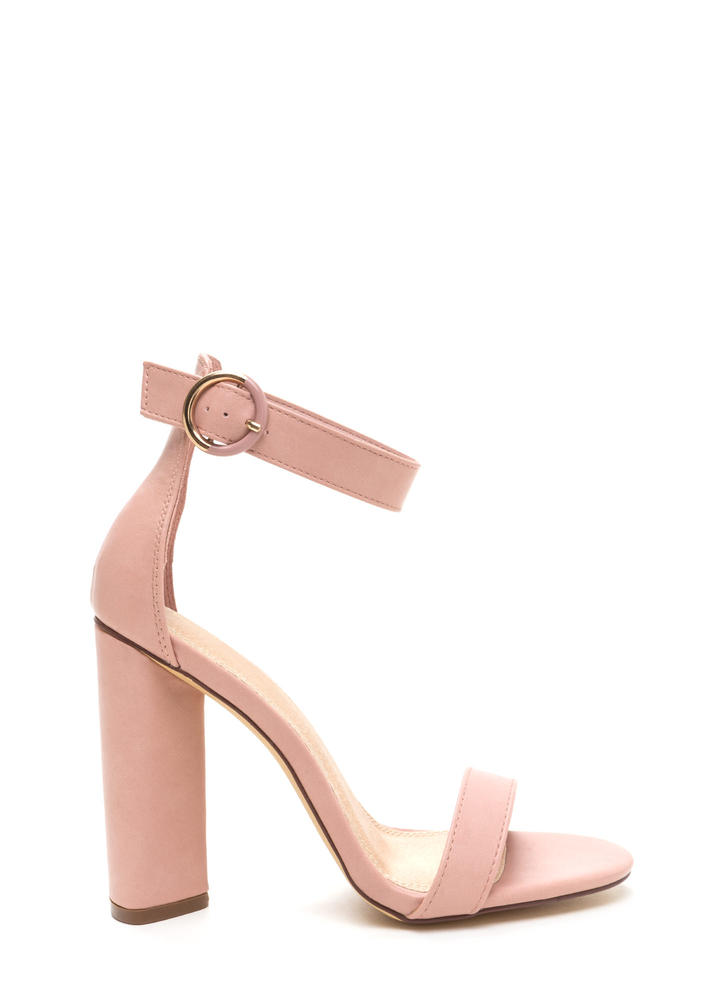 Full Circle Chunky Faux Leather Heels DUSTYPINK