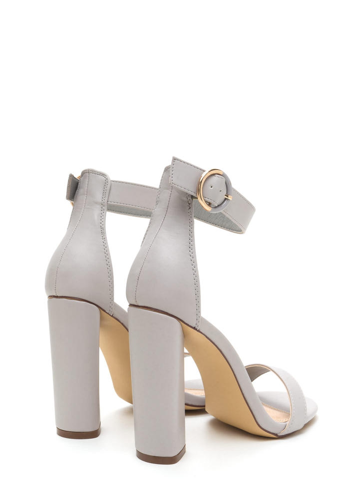 Full Circle Chunky Faux Leather Heels GREY