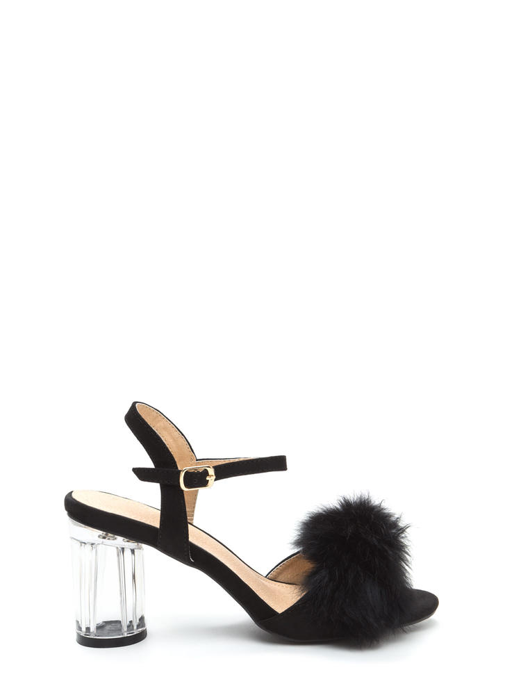A Fur Effort Chunky Clear Heels BLACK