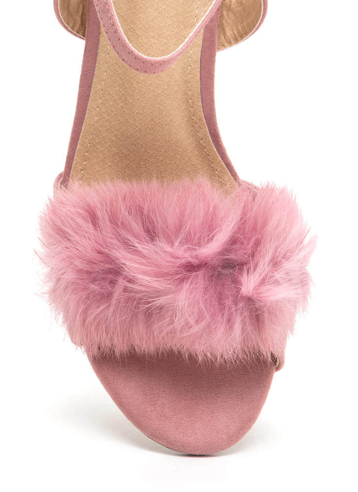 A Fur Effort Chunky Clear Heels DUSTYPINK